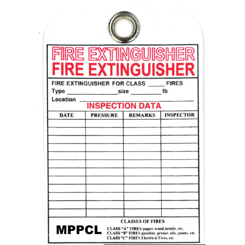 BSI FIRE EXTINGUISHER TAG